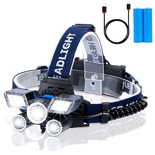 Wiederaufladbare Stirnlampe LED, 5 Lampen 21 LED 9 Modi 18000 Lumen Superheller USB Wiederaufladbare Kopflampe, LED Stirnlampe Wasserdicht für Arbeit Camping Angeln Joggen Lesen Arbeiten Wandern