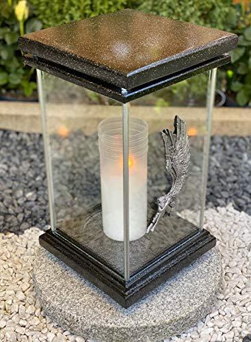 Grablampe Grablicht Grabdekoration Grabschmuck Gartenlampe Kerze incl.Grabkerze - Höchste Qualität