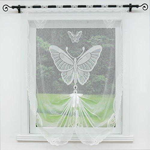 Joyswahl Scheibengardine Jacquard Raffrollo mit Stangendurchzug Schmetterling BxH 100x160cm Weiß 1er Pack