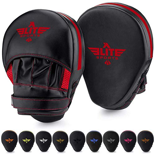 Elite Sports Boxing Mitts for Muay Thai MMA Sparring Training Punching Focus Punch Target Mitts and Pads (Red)