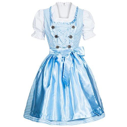 Mufimex Damen Dirndl Kleid Dirndlkleid Trachtenkleid Midi Kariert Hellblau 44