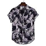 ZAIZAI Camisas de algodón y lino étnico de manga corta para hombre con estampado suelto, blusa para playa, botones de hip hop (color: negro, tamaño: código XL)