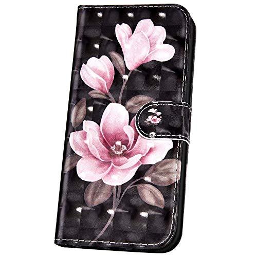 Kompatibel mit Xiaomi Mi A3,Handyhülle für Xiaomi Mi A3 Tasche Leder Flip Hülle Brieftasche Etui Schutzhülle 3D Glitzer Muster Glänzend PU Leder Hülle Klapphülle Wallet Hülle,Pink Blumen