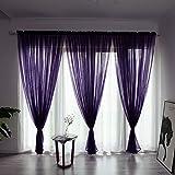 BOYOUTH Cortinas de gasa transparente de color sólido, con bolsillo para barra, para dormitorio, sala de estar, hotel, morado de uva, 1 panel, 39 x 78 pulgadas
