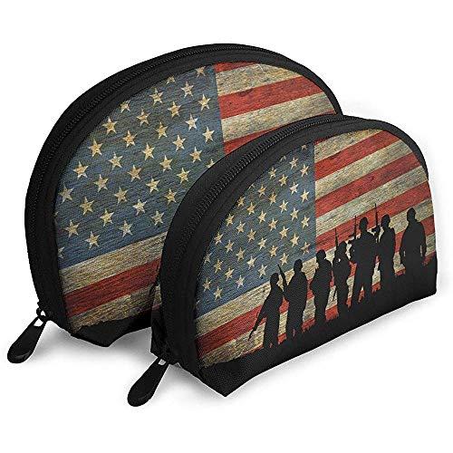 Benedici le sagome americane degli Stati Uniti d'America Bandiera sullo sfondo Valor Patriot Borse portatili Borsa per trucco Borsa da toilette Borse da viaggio portatili multifunzione