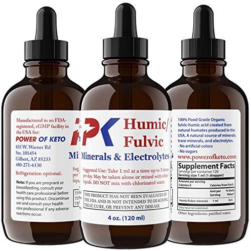 Humic and Fulvic Acid Mineral Supplement Organic Earth Drops Plant Based 4 Oz