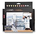 COPIC conjunto de arquitectura 12 colores en una cartera