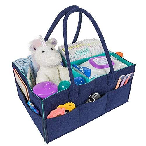BYETOO Cesta de Almacenamiento para Pañales de Bebé,Organizador de Coche,Cesta de Regalo para Recién Nacido,con Separador Desmontable y Multi bolsillos invisibles para Pañales y Toallitas,Azul