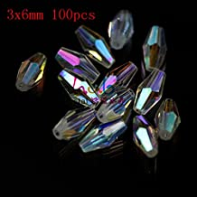 AB Clear Color 3x6mm Crystal ab Color Glass Long Bicone Beads for DIY Bracelet Necklace Jewelry