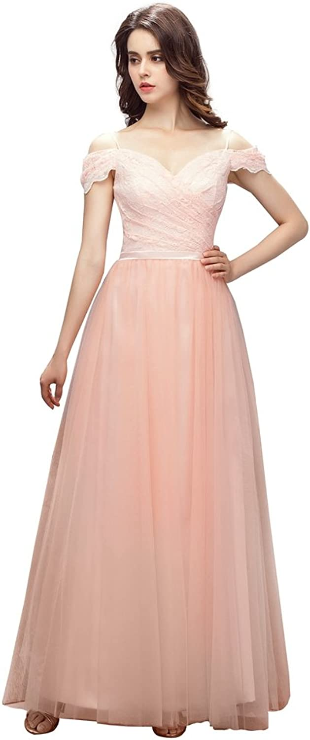 Engerla Sweetheart Spaghetti Straps Backless Lace Long Formal Evening Gown