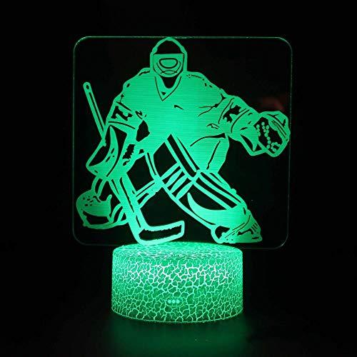 OMCR Illusion Nachtlicht 16 Farben - Uhr - Bluetooth Lautsprecher - Sport Hockey, Lampe 16 Farben 3D gedruckt USB Wiederaufladbare LED Nachtlicht Moderne Stehleuchte Dimmbare Touch Control Tischlampe