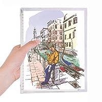 ベニスの風景イタリア国家パターン 硬質プラスチックルーズリーフノートノート