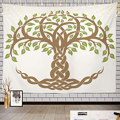 Batmerry Tree of Life Tapestry, Celtic Knot in Green Picnic Mat Hippie Trippy Tapestry Wall Art Meditation Decor for Bedroom Living Room Dorm, 51.2 x 59.1 Inches, Brown