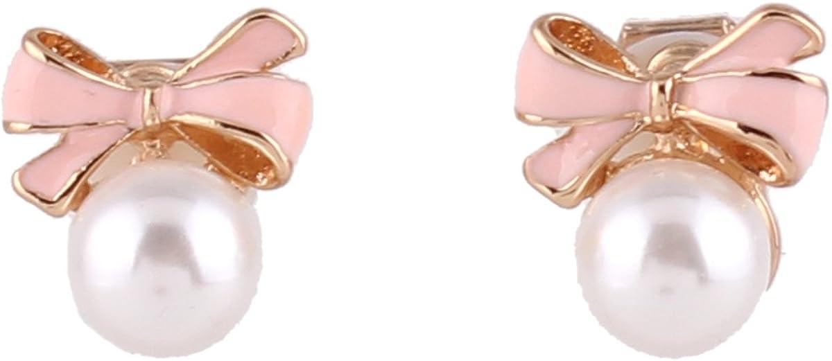 GRACE JUN Gold Plated bow-knot shape Pearl Clip on Earrings No Pierced for Women Ear Clip