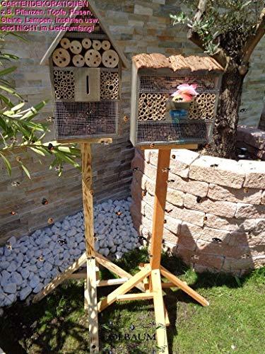 2 x XL Insektenhotels, viereckig/Quadrat + Hausform, Bienenhaus mit 2X Standfuß UND TRÄNKE insektenhotel groß 150 cm schwarz kleines Vogelhaus Meisen Nistkasten