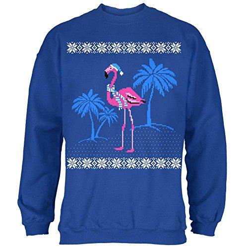 Flamingo Winter Ugly Christmas Sweater Mens Sweatshirt Royal LG