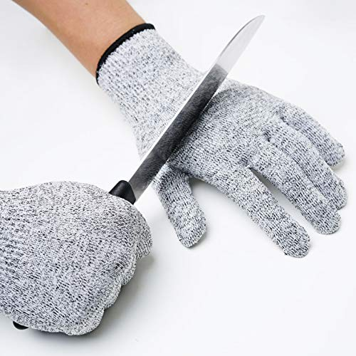 Cut Resistant Gloves Food Grade Level 5 Protection,Kitchen Meat Cutting,Oyester shucking,Gardon wood carving (Medium)