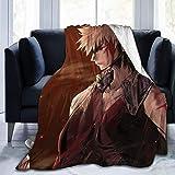 XIUZHEN Manta de Lana de Franela con Flecos de Pompones, Manta de Felpa difusa, tamaño de Lujo Anime My Hero Academia Katsuki Bakugo, colchas para Mujeres, sofá, Sala de Estar, 60 x 50 Pulgadas