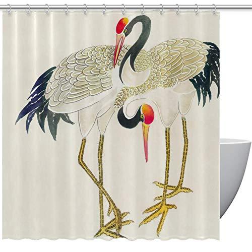Cortina de ducha de tela ATOMO para baño – Cortina de baño impermeable con 12 ganchos, patrón de grúa de corona roja