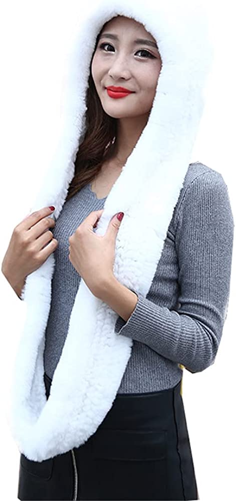 One Set Real Rabbit Fur Scarf Hat Omaha Mall Knitted Warm Hooded Max 75% OFF Shawl and