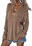 ZIYYOOHY Damen Strickpullover V Ausschnitt Langarmshirts Pullover Sweatshirt Schulterfrei Lose Casual Oberteil Tops Sweater Pulli (019 Khaki, S)
