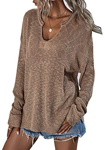ZIYYOOHY Damen Strickpullover V Ausschnitt Langarmshirts Pullover Sweatshirt Schulterfrei Lose Casual Oberteil Tops Sweater Pulli (019 Khaki, L)