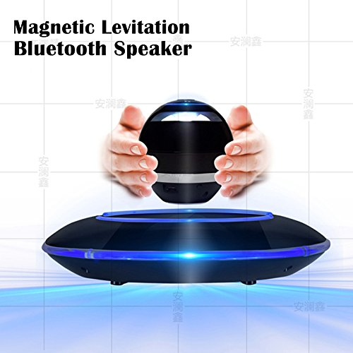 Levitating Bluetooth Speaker, FLADORA Portable Floating Wireless Speaker with Bluetooth, 360 Degree Rotation, Built-in Microphone - Matte Black