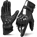 INBIKE Leather Motorcycle Gloves with Carbon Fiber Hard Knuckle Touch Screen for Women Black Medium