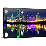 Downtown Dallas Skyline Reflections in Canvas Wall Art Print, Dallas Artwork