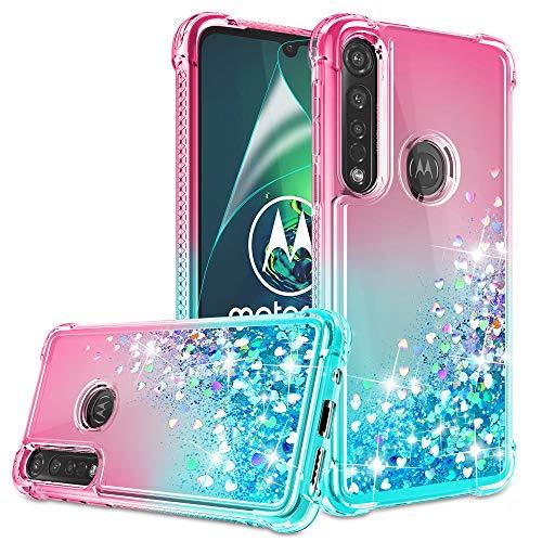 Moto G8 Play , Moto G8 Plus , Moto One Makro Hülle mit HD Bildschirmschutzfolie für Mädchen Frauen, Gritup Cute Clear Gradient Glitzer Liquid TPU Slim Handyhülle für Motorola G8 Play, Pink/Blaugrün