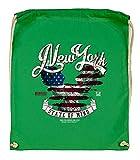 Druckerlebnis24 - Bolsa de tela (algodón bio), diseño de águila de Nueva York, color verde, tamaño talla única
