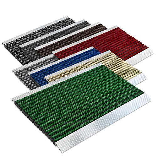 Floordirekt PRO Repräsentative Fußmatte Profi Brush - Testurteil Sehr Gut - Schmutzfangmatte mit Alu Rahmen für außen und innen - Verschiedene Bürsten Farben und Größen (40x60cm Grün)
