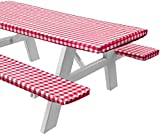 Sorfey Vinyl Picnic Table and Bench Fitted Tablecloth Cover, Checkered Design, Flannel Backed Lining, 28 x 72 Inch, 3-Piece Set, Red