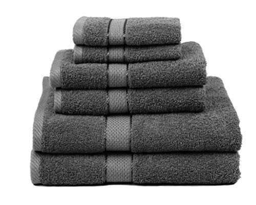 Ariv Collection Premium Bamboo Cotton 6 Piece Towel Set (2 Bath Towels, 2...