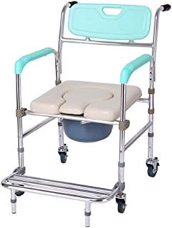ZRL77y Shower Stool Medical Bedside Commode Chair/Wheeled Commode/Over Toilet Chair/Foldable Armrests and Removable Footre...