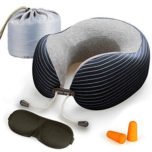 Lyn s Almohada Cuello, Almohada Viaje Espuma Memoria, Funda de algodón Puro Transpirable, Kit de Viaje de avión con máscara para los Ojos, Tapones para los oídos y Bolsa de Almacenamiento (Azul)