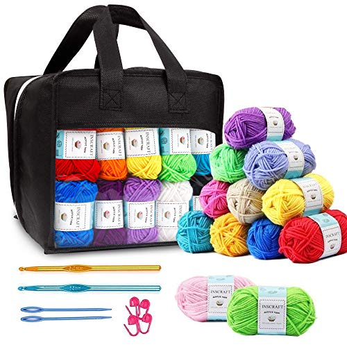 40 Acrylic Yarn Skeins, 1600 Yards Crochet Yarn with Reusable Storage Bag Includes 2 Crochet Hooks, 2 Weaving Needles, 4 Locking Stitch Markers for Crochet & Knitting by Inscraft