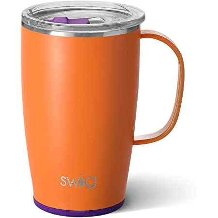 Amazon Com Swig Life 18oz Triple Insulated Travel Mug With Handle And Lid Dishwasher Safe Double Wall And Vacuum Sealed Stainless Steel Coffee Mug In Matte Orange Purple Print Gameday Colors Edition Kitchen