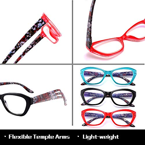 Blue Light Blocking Reading Glasses +1.0 for Women Men, Fashion Computer Reader Glasses UV Protection Anti Glare Anti Eye Eyestrain(3 Pairs)