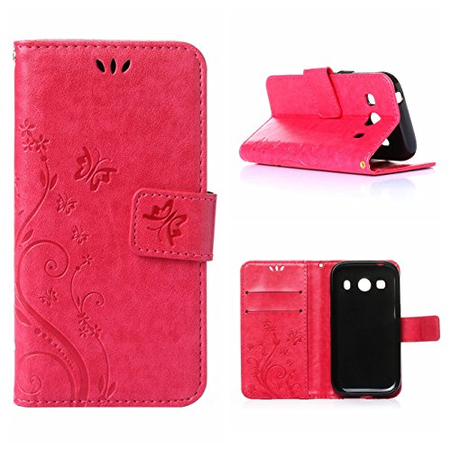 MOONCASE Galaxy Ace 4 Custodia in Pelle Protettiva Flip Cover per Samsung Galaxy Ace 4 SM-G357 SM-G357FZ Fiore Snap-on Magnetico Bookstyle TPU Case Rosa