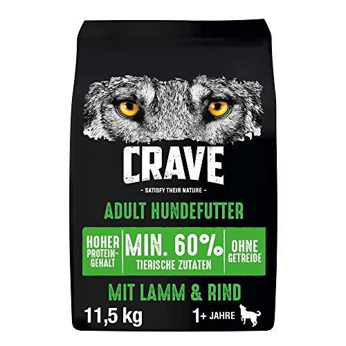 CRAVE Premium Trockenfutter mit Lamm & Rind für Hunde – Getreidefreies Adult Hundefutter mit hohem Proteingehalt – 11.5 kg