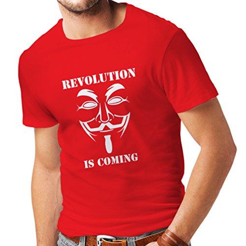 lepni.me Camisetas Hombre La Revolución se Acerca Hackers Anónimos Legión V para Vendetta (Large Rojo Blanco)