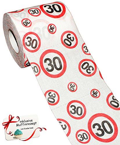 alles-meine.de GmbH 3 Rollen _ Toilettenpapier -  30. Geburtstag / Happy Birthday  - 25 m - Verkehrsschild - WC Klopapier Klopapier - lustig Klorolle große Rolle / dreißigster ..