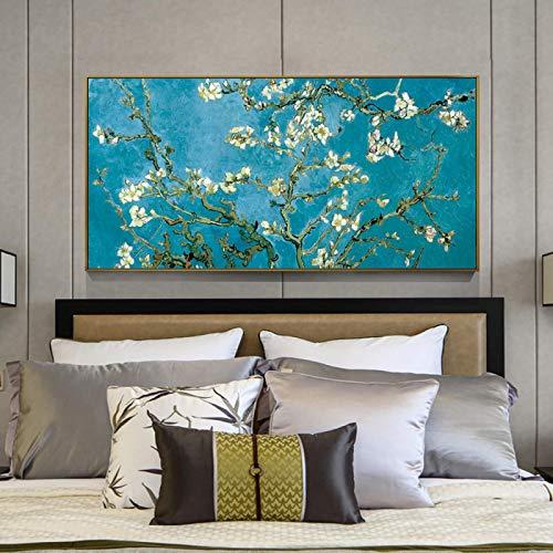 JinYiGlobal Arte de Pared Impresiones en Lienzo Pinturas de Flor de Almendro Pared de Van Gogh Cuadros de Flor de Almendro impresionista decoración del hogar 50x100cm sin Marco