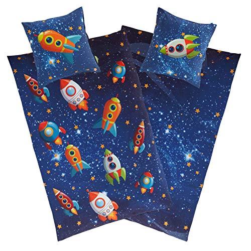 Aminata Kids Kinderbettwäsche Weltraum 135x200 cm Jungen Mädchen aus Baumwolle mit YKK Reißverschluss, unser Kinder-Weltall-Bettwäsche-Set mit Raketen & Universum