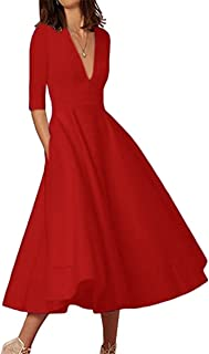 YMING Women s Elegant Cocktail Maxi Dress Deep V Neck 3 4 Sleeve Vintage  Pleated Dress 3dd5a47a49fc