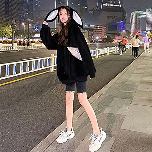 FWJSDPZ Orejas De Conejo Mujeres De Gran Tamaño Mujeres Sudadera Harajuku Coreano Velvete Terce Sudadera con Capucha Mujeres Ropa De Mujer Pollo Flojo Tops De Bolsillo (Color : 2, Size : XXL)