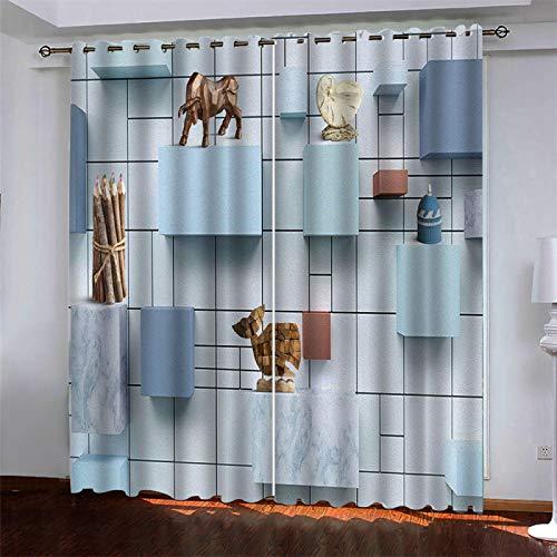 SSHHJ European Modern Minimalist Curtains 3D Striped Grid Fabric Curtain Bedroom Living Room Balcony Sunshade 2 Pieces Of Wall Decoration