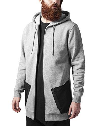 Urban Classics Long Peached Tech Zip Hoody Sweat-Shirt à Capuche, Multicolore (Gris/Noir 119), L Homme