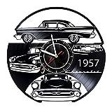 MZshop25 Chevy 1957 Car Handmade Vinyl Record Wall Clock - Best Gift for Boss Dad Mom Boy Girl Kovides Vinyl Wall Clock Home Decoration Room Inspirational, Vinyl Wall Clock Silent Wall Art (5)